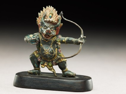 Figure of a bull-headed guardian with a bowside