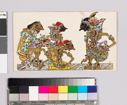 Card with characters from Wayang theatrefront