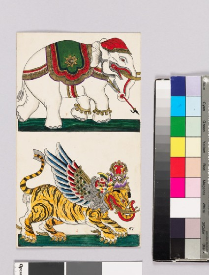 Card with an elephant and tiger from Wayang theatrefront