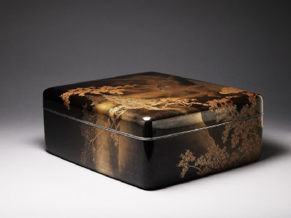 Ryoshibako, or paper box, with maple trees and waterfalloblique