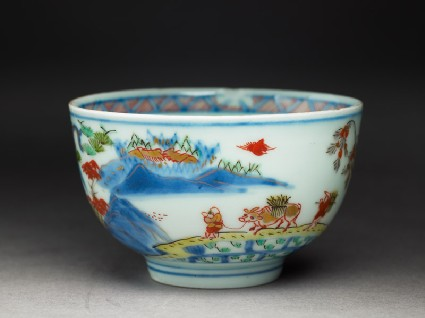 Cup with Japanese picnic sceneoblique