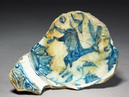Base fragment of a bowl with animaltop