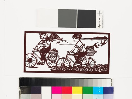 Two girls on bicycles with baskets full of plantsfront