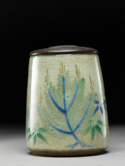 Tea caddy with pine trees and bambooside