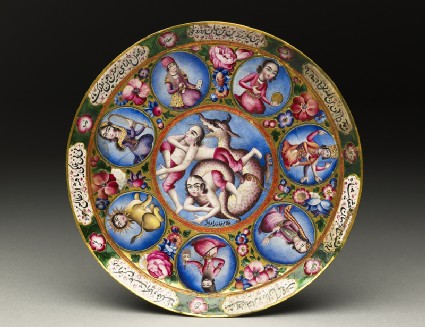Saucer with astrological decorationtop