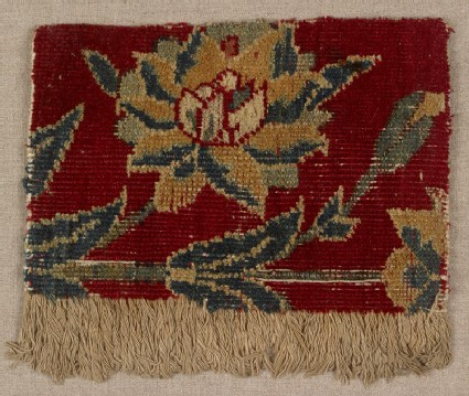 Mughal carpet fragment with floral designfront