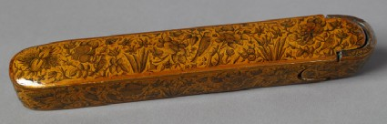 Qalamdan, or pen box, with animals and flowersoblique