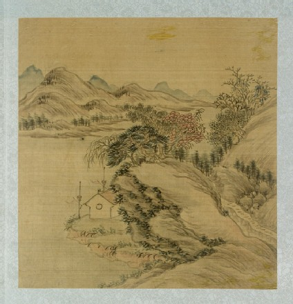 Landscape with cliffs and a dwelling by the riverfront