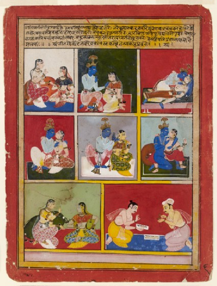 Scenes of Krishna, Radha, and her companion, and the poet Jayadevafront