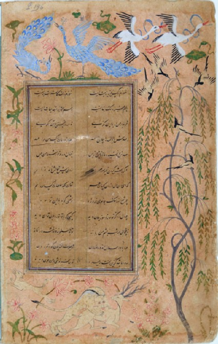 Page from a dispersed manuscript in nasta'liq script with marginal paintings of birds and plantsfront