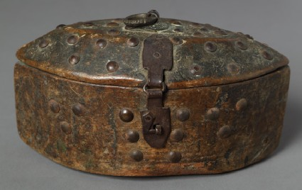 Lidded oval box with iron fittingsfront
