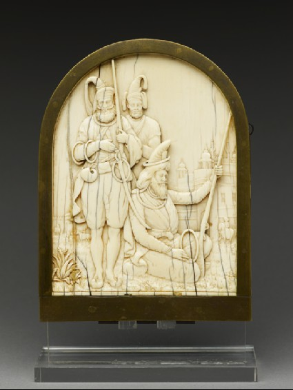 Ivory plaque depicting three Sikh warriorsfront