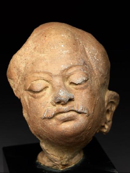 Head of a moustachioed manoblique