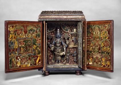 Portable shrine of Vishnu as Venkateshwarafront, open