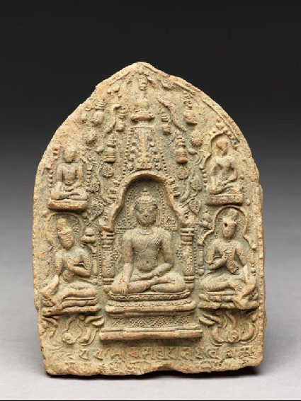 Votive plaque of the Buddha seated inside a stupafront
