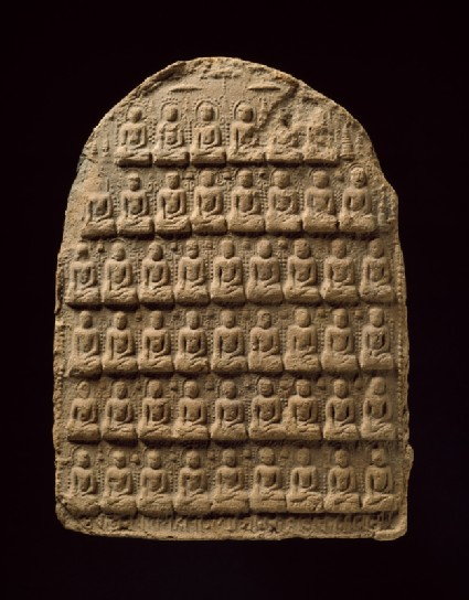 Votive plaque with multiple seated Buddhasfront