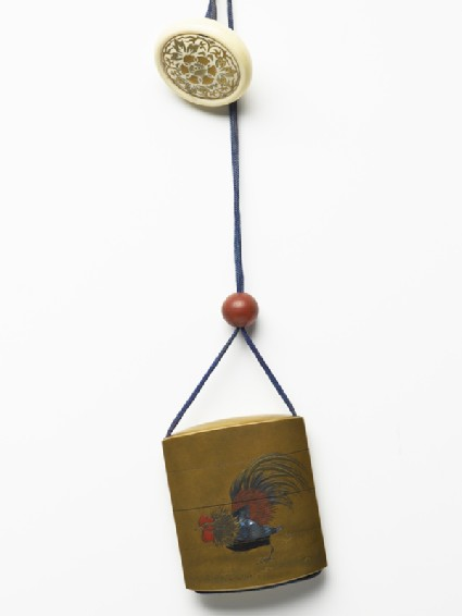 Inrō with fighting cocks, attached to a netsuke and an ojimefront