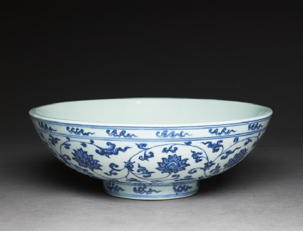 Blue-and-white bowl with lotus scrollsoblique