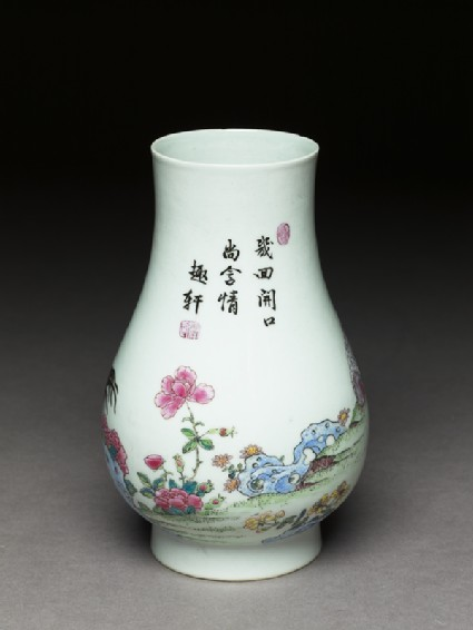 Vase with chickens and flowersoblique