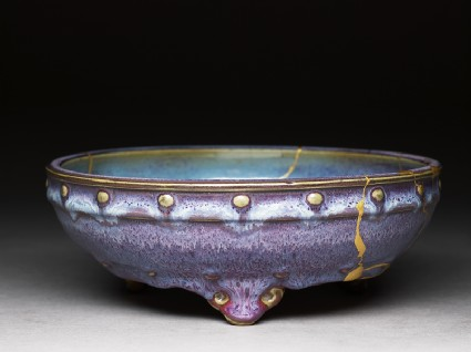Bulb bowl with purple and blue glazesoblique