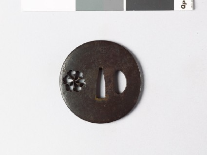 Lenticular tsuba with tessen, or clematisfront