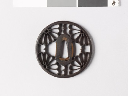 Round tsuba with karigane, or flying geese, and chrysanthemumsfront
