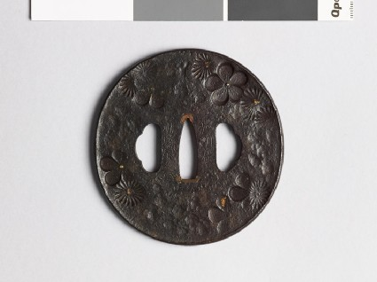 Tsuba with chrysanthemum and plum blossomsfront