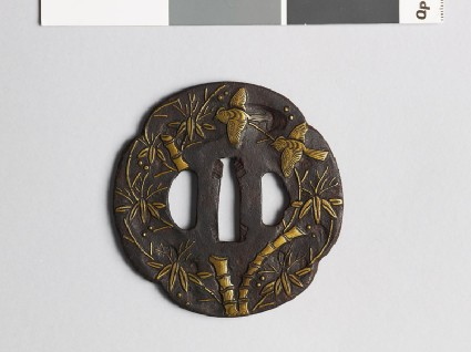 Mokkō-shaped tsuba with bamboo and birdsfront