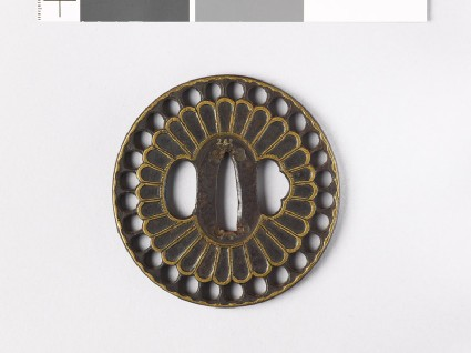 Tsuba with chrysanthemum floretsfront