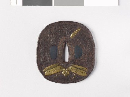Tsuba with dragonfly and butterflyfront