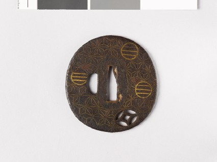 Tsuba with asanoha, or stylized hemp leavesfront