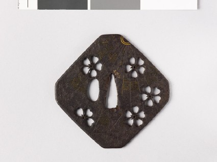 Tsuba with cherry blossoms and a cobwebfront