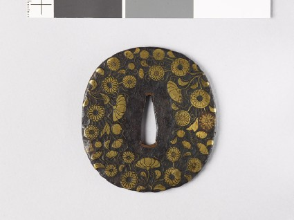 Tsuba with chrysanthemum spraysfront