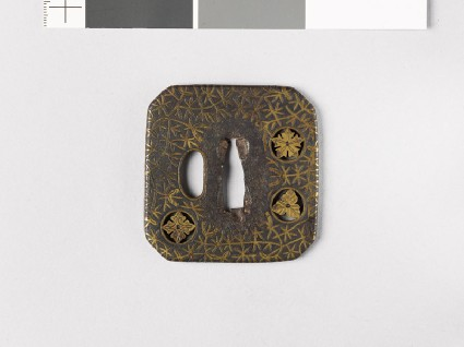 Square tsuba with plants including river-weedsfront