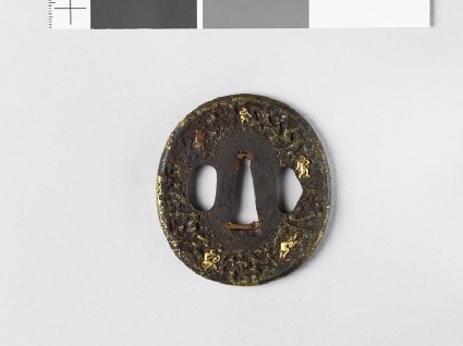 Tsuba with 'stick-lac' decoration and monkeys amid rocksfront
