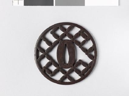 Round tsuba with shippō diaper of interlaced circlesfront