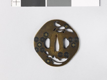 Tsuba with an orchid and hexagonsfront