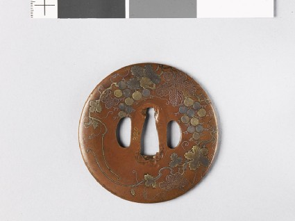 Tsuba with grape vinefront