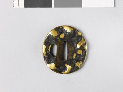 Tsuba with plum blossoms and dewdrops amid snowfront