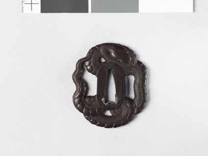 Mokkō-shaped tsuba in the form of a coiled snakefront
