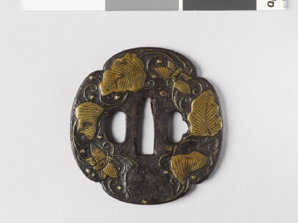 Mokkō-shaped tsuba with leaves, butterflies, and dewdropsfront
