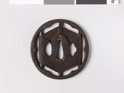 Tsuba formed as a skein of silk on an open framefront