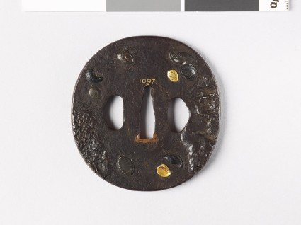 Tsuba with marine molluscs amid mud banks or rocksfront