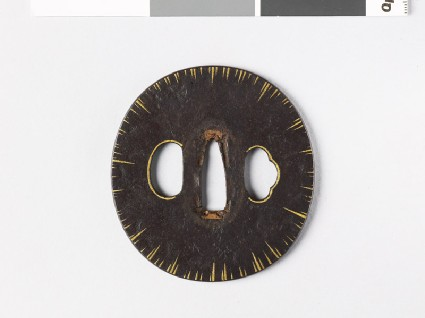 Tsuba with gold striationsfront