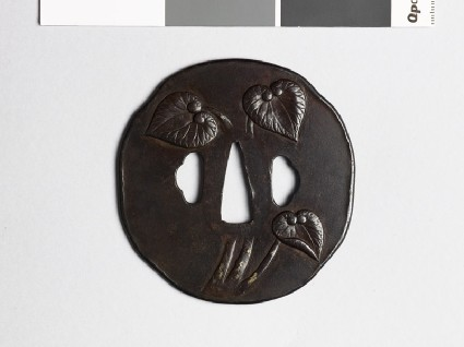 Tsuba with aoi, or hollyhock leavesfront