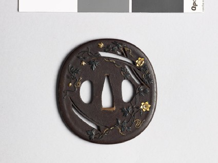 Tsuba with clematis, susuki grass, and mon crests of the Katagiri familyfront