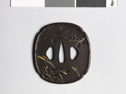 Mokkō-shaped tsuba with reeds and a crescent moonfront