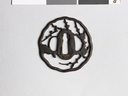 Tsuba with blossoming plum branchesfront