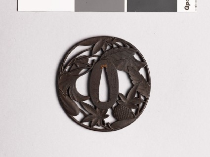 Tsuba with pine cone, needles, and leavesfront