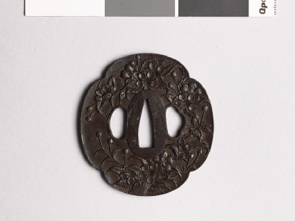 Mokkō-shaped tsuba with cherry blossomfront
